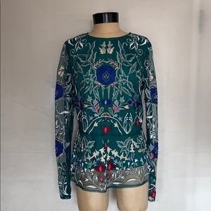 Sundance Multicolored Floral Embroidered Blouse 8